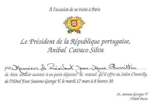 Invitation President Portugais