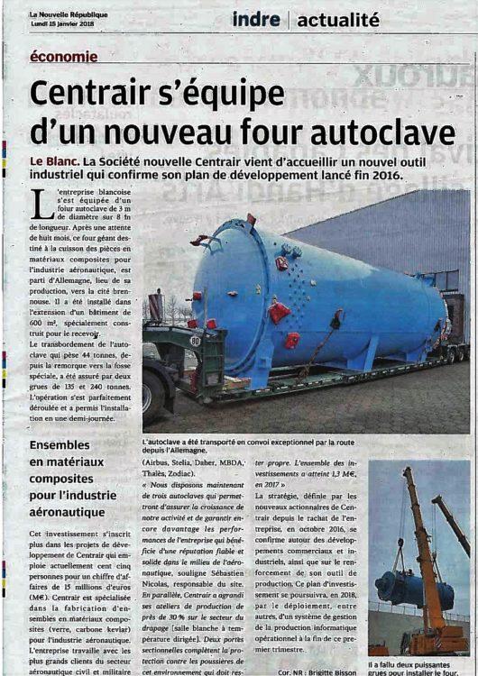 NOUVEAU FOUR AUTOCLAVE POUR CENTRAIR