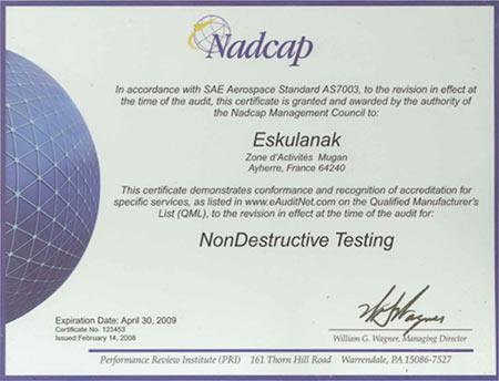 ESKULANAK accrédité NADCAP NONDESTRUCTIVE TESTING